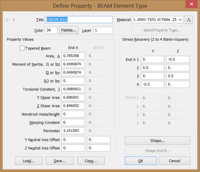 Propiedades del elemento CBEAM