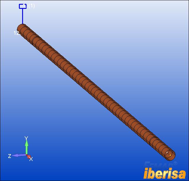 Modelo de Elementos Finitos mallado con elementos 1-D CBEAM